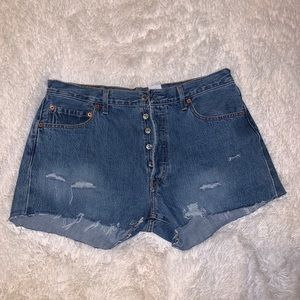 Levi distressed shorts